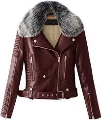 faux fur collar pu leather fleece lined