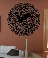 Vinyl Wall Decal Sticker Deer Flowers Circle 5317 Stickerbrand