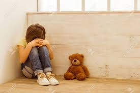 Punished Little Boy Sitting In The Corner And Crying, A Teddy ...