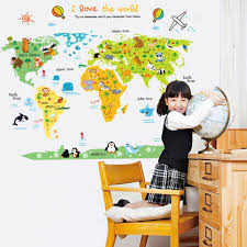 Creative Animals World Map Creative Cartoon Diy Removable Wall Stickers Kids Room Nursery Backdrop Home Decoration Wall Decals Decorative Wall Decal Wall Decalswall Sticker Aliexpress