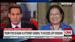 """New Day on Twitter: """"William Barr and Heather Nauert are Trump's top  choices for attorney general and UN ambassador, sources say. Sen.  @maziehirono: """"I do not know that being loyal to the"""