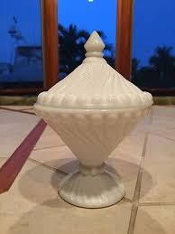 ball white milk glass pedestal