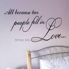 Romantic All Because Two People Fall In Love Wall Stickers Art Words Headboard Wallpaper Decals Vinyl Bedroom Decoration Yy501 Bedroom Decor Vinyl Decaldecorative Vinyl Aliexpress