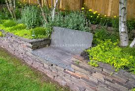 Stone Garden Bench In Wall Plant Flower Stock Photography Gardenphotos Com