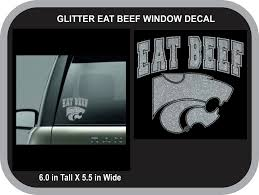 Eat Beef Glitter Decal With Power Cat