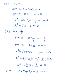 quadratic equation given two roots