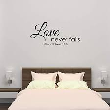 Amazon Com Empresal Wall Decal 1 Corinthians 13 Love Never Fails Christian Bible Verse Sticker Scripture Quote Arts Crafts Sewing