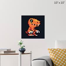 Digimon Agumon Pixel Art Wall Poster B