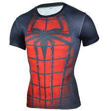 short sleeve super heros red spider man