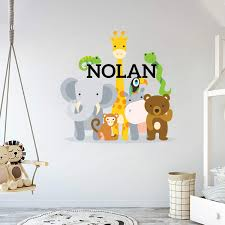 Amazon Com Custom Name Jungle Animals Baby Boy Wall Decal Nursery For Home Bedroom Children Mm104 Wide 42 X 41 Height Baby