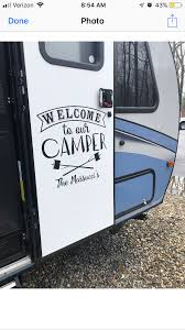 Free Shipping With Code Marshmallow Welcome To Our Camper Custom Rv Door And Slideout Decal Camper Trailer Remodel Camper Makeover Rv Decals