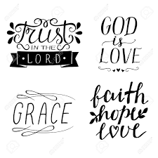 set of hand lettering christian quotes god is love faith