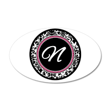 Letter N Girly Black Monogram Wall Decal By Admin Cp49789583 Cafepress