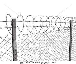 Stock Illustration Chainlink Fence With Barbed Wire On Top Clipart Illustrations Gg57625033 Gograph