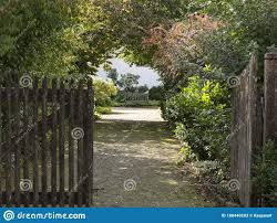Open Wooden Gate And Gravel Driveway Stock Image Image Of Environment Country 188440203