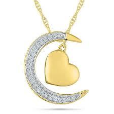 diamond accent cresent moon pendant w
