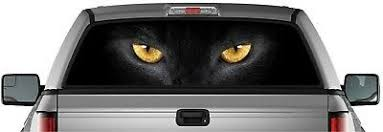 Perforated Vinyl Sticker Black Cat Eyes Pick Up Truck Back Window Graphic Decal Ebay