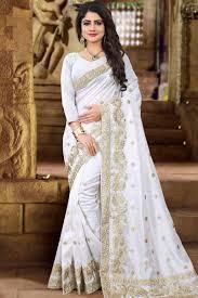 zoya art silk saree with white