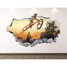 Amazon Com Mountain Bike Vinyl Wall Decals Removable Vinyl Wall Art Decals For Kids Rooms Bedroom Living Room Garage Playroom Extreme Sports Wall Decal Bmx Wall Decal Stickers For Women