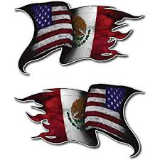 Amazon Com Usa Mexico American Mexican Flag Car Chrome Emblem Decal 3d Sticker With Adhesive Automotive