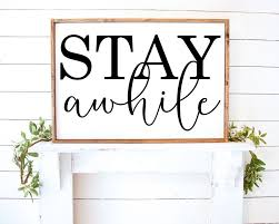 Stay Awhile Farmhouse Vinyl Wall Decal Sticker Style Home Decor By Farmstonestudio On Etsy Vinyl Wall Decals Vinyl Wall Decals Living Room Wall Decals