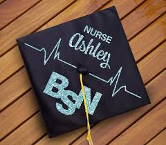 Custom Nursing Graduation Cap Decal Decoration Nurse Name Bsn Rn Nursing Major Nurse Graduation Cap Nursing Graduation Nursing School Graduation Party