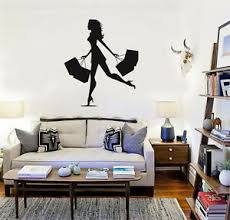 Vinyl Decal Shopping Women Silhouettes Fashion Shop Wall Stickers Ig3184 Ebay