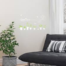 Shop Potted Plant Pattern Wall Sticker Self Stick Removable Decal For Living Room White Overstock 29169709