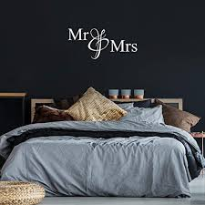 Amazon Com Vinyl Wall Art Decal Mr Mrs 20 X 45 5 Modern Inspirational Cute Quote Sticker For Family Home Office Living Room Couple Bedroom Entryway Patio Decor White Kitchen