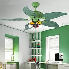 Huston Fan Kids Bedroom Ceiling Fan Light With 5 Green Reversible Blade And 3 Ladybug Lampshade 42 Inch Children Boy Bedroom Ceiling Fan With Led Lights 3 Color Setting Non Dimmable 2 Down Rod Amazon Com