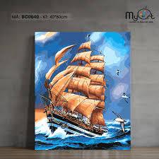 Tranh sơn dầu số hóa tự tô màu - Mã BC0640 Tranh phong cảnh biển cả thuyền  buồm thuận buồm xuôi gió