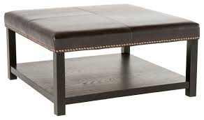 leather ottoman brown bench with rack