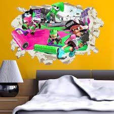 Splatoon 2 Wall Stickers Decal Crack Home Decor Kids Bed Room Vinyl Ar