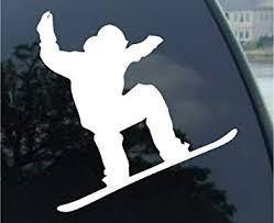 Amazon Com Socooldesign Snowboarder Jumping Silhouette Car Window Vinyl Decal Sticker 6 Wide White Automotive