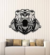 Vinyl Wall Decal Sports Power Gym Fitness Barbell Bear Head Animal Sti Wallstickers4you
