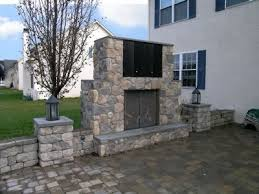 an outdoor ventless gas fireplace with