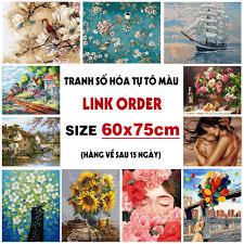 ORDER] Tranh tô màu theo số sơn dầu số hóa size to 60x75cm Đã căng ...