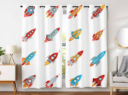 Blackout Curtains 2 Panels Grommet Curtains For Kids Bedroom Outer Space Planets Boys Rocketship Multicolor Buy At The Price Of 32 39 In Aliexpress Com Imall Com