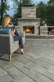 stylish modern outdoor fireplace