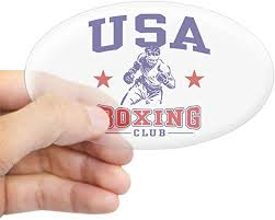 Amazon Com Cafepress Usa Boxing Oval Bumper Sticker Euro Oval Car Decal Home Kitchen