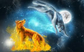 fire and ice wolves wallpaper fantasy