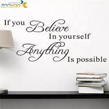 Believe In Yourself Home Decor Creative Quote Wall Decal Zooyoo8037 Decorative Adesivo De Parede Removable Vinyl Wall Sticker Vinyl Wall Stickers Wall Stickeradesivo De Parede Aliexpress