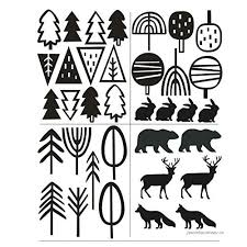 Kinds Of Trees Tribal Woodland Animals Wall Decor Sticker Art Removable Home Decoration Forest Bear Deer