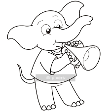 Cartoon Elephant Playing A Trumpet Wall Decal Pixers We Live To Change