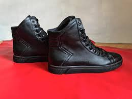 mens black leather high tops boots