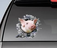 Pig Window Sticker Window Sticker Pig Funny Decal Etsy