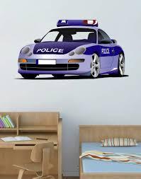 Cik75 Full Color Wall Decal Police Car Transport Bedroom Children S Ro Stickersforlife