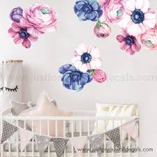 Mini Set Flower Wall Decal Floral Wall Decal Watercolor Etsy