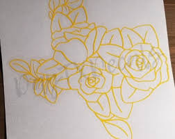 Rose Texas Decal Etsy