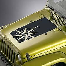 Amazon Com Skunkmonkey Hood Decal Fits Jeep Wrangler Tj Yj Jk Compass Blackout Sticker Matte Black Automotive